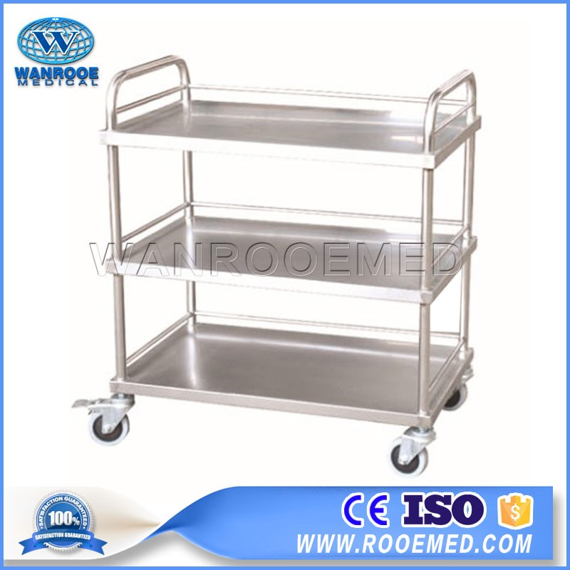 BSS300/301 Durable Medical Surgical Stainless Steel Instrument Three Layer Trolley