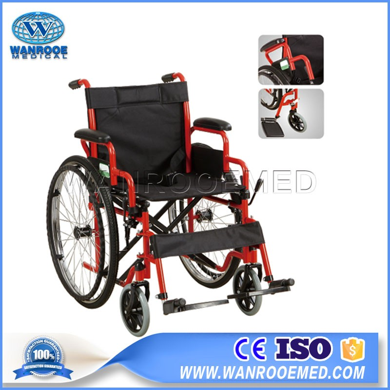 BWHM-1A19 Steel Frame Manual Lightweight Hospital Wheelchair For Disabled Patient