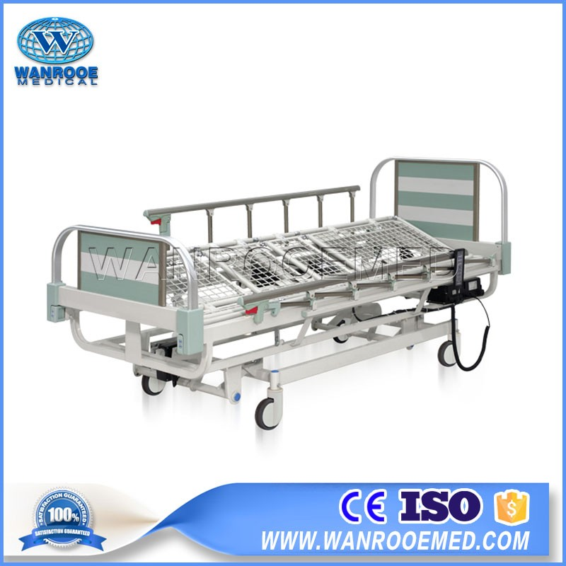 BAE508 Hospital Plastic-Spray Steel Medical ABS Electric Nursing Patient Bed With Two Cranks