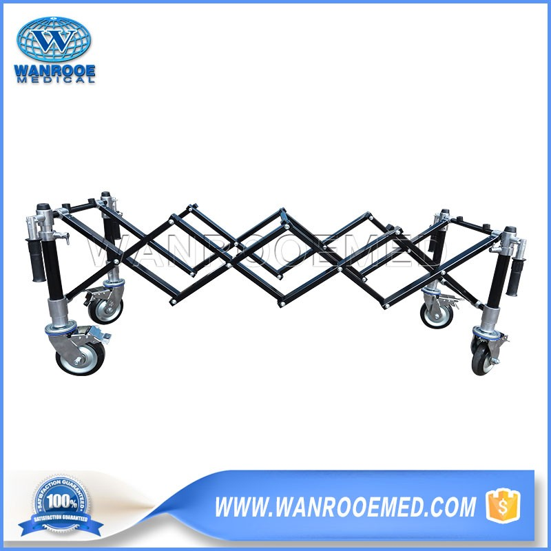 GA102E Hospital Medical Funeral X-frame Aluminum Alloy Mortuary Trolley With Two Brakes