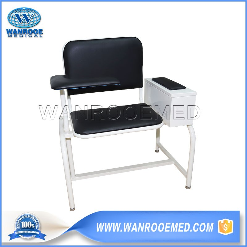 BXD103 Hospital Medical Extra Wide Padded Blood Drawing Chair With Padded Flip Arm & Drawer