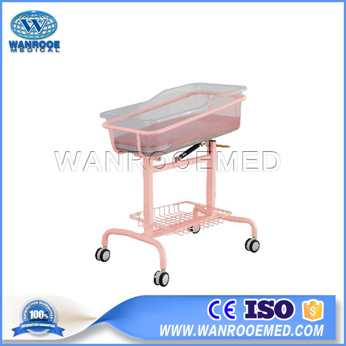 BBC002 Stainless Steel Medical Baby Trolley Mobile Baby Hospital Bed With Wheels