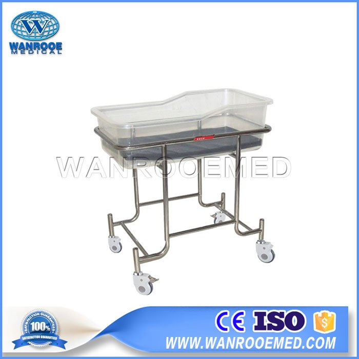 BBC003 Hospital Stainless Steel Infant Cot Portable Mobile Baby Cribs With Mattress