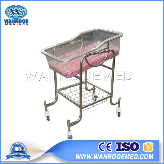 BBC005 Full Stainless Steel Baby Cot Baby Cribs Pediatric Hospital Bed
