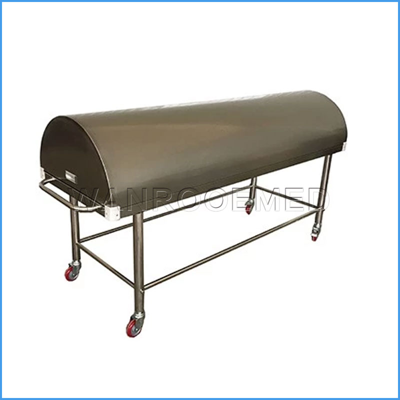 GA201B Hospital 304 Stainless Steel Mortuary Autopsy Corpse Transport Trolley with Cover