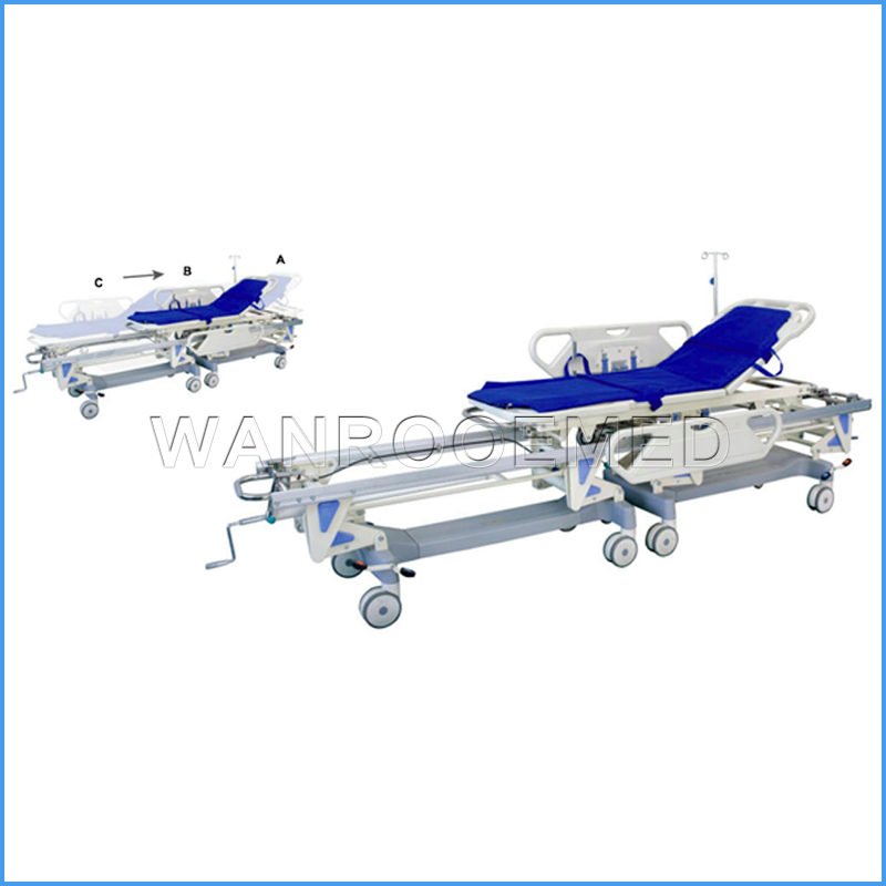 BD26A Hospital Emergency Manual Transfer Stretcher Hospital Patient Transfer Cart